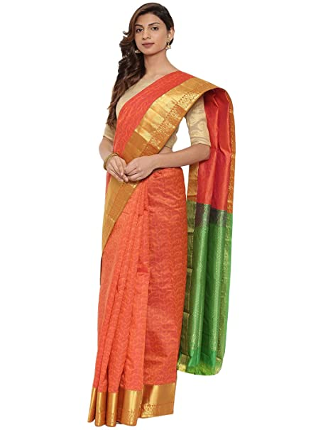 90896b35d8 CLASSICATE From the house of The Chennai Silks Traditional Silk Saree  (CCMYSS10376 - Orange Rust): Amazon.in: Clothing & Accessories