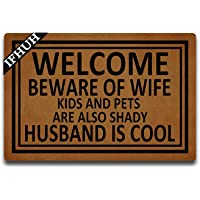 IFHUH Welcome Beware of Wife Kids and Pets are Also Shady Husband is Cool Doormat Funny Welcome Mat Front Door Mat…