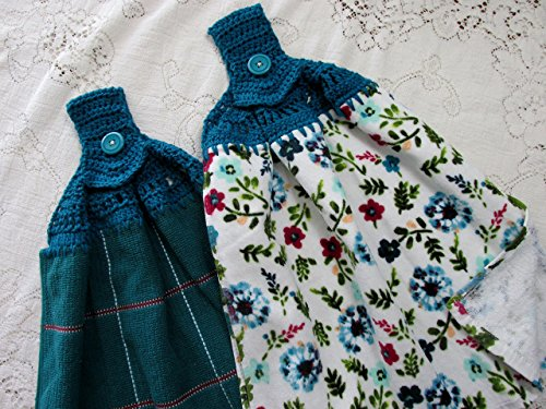 Set of 2 Pioneer Woman Willow Deep Teal Double Layer Hanging Kitchen Towels, Best Quality, Crochet Top