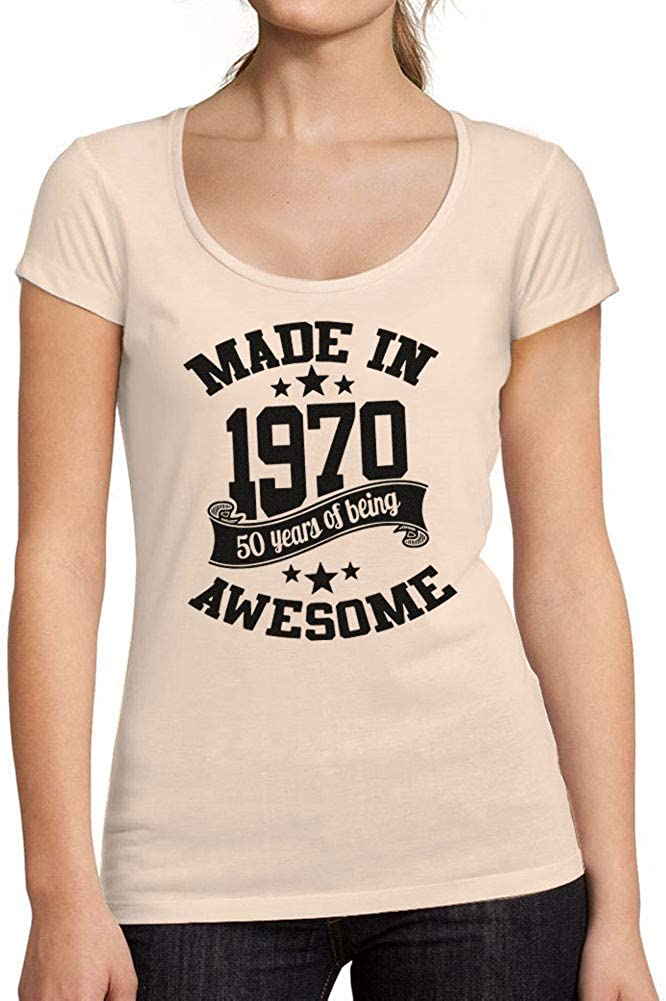 Womens Low-Cut Round Neck T-Shirt Made in 1970 T-Shirt Gift Idea for 50th Birthday Ultrabasic