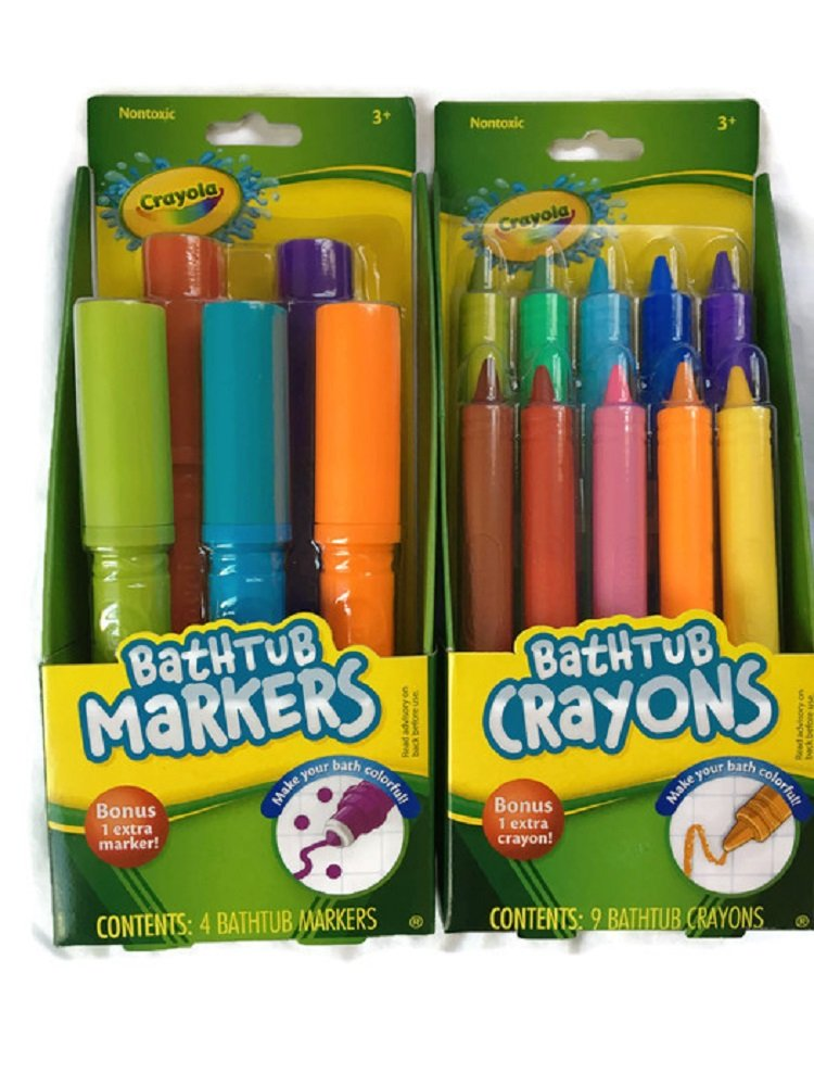 Crayola Bathtub Markers with 1 Bonus Extra Markers AND Crayola Bathtub Crayons with 1 Bonus Extra Crayons by Crayola