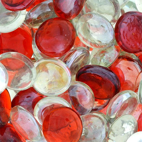 Greenbrier International Glass Gems for Vase Accents and Crafting (2 Bags, Red and Clear Gems) (Red Flat Marbles)