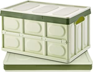 Homde 50L Collapsible Storage Bins Pack of 2 with Lid Crates Plastic Tote Storage Box Container (Green, X-Large)
