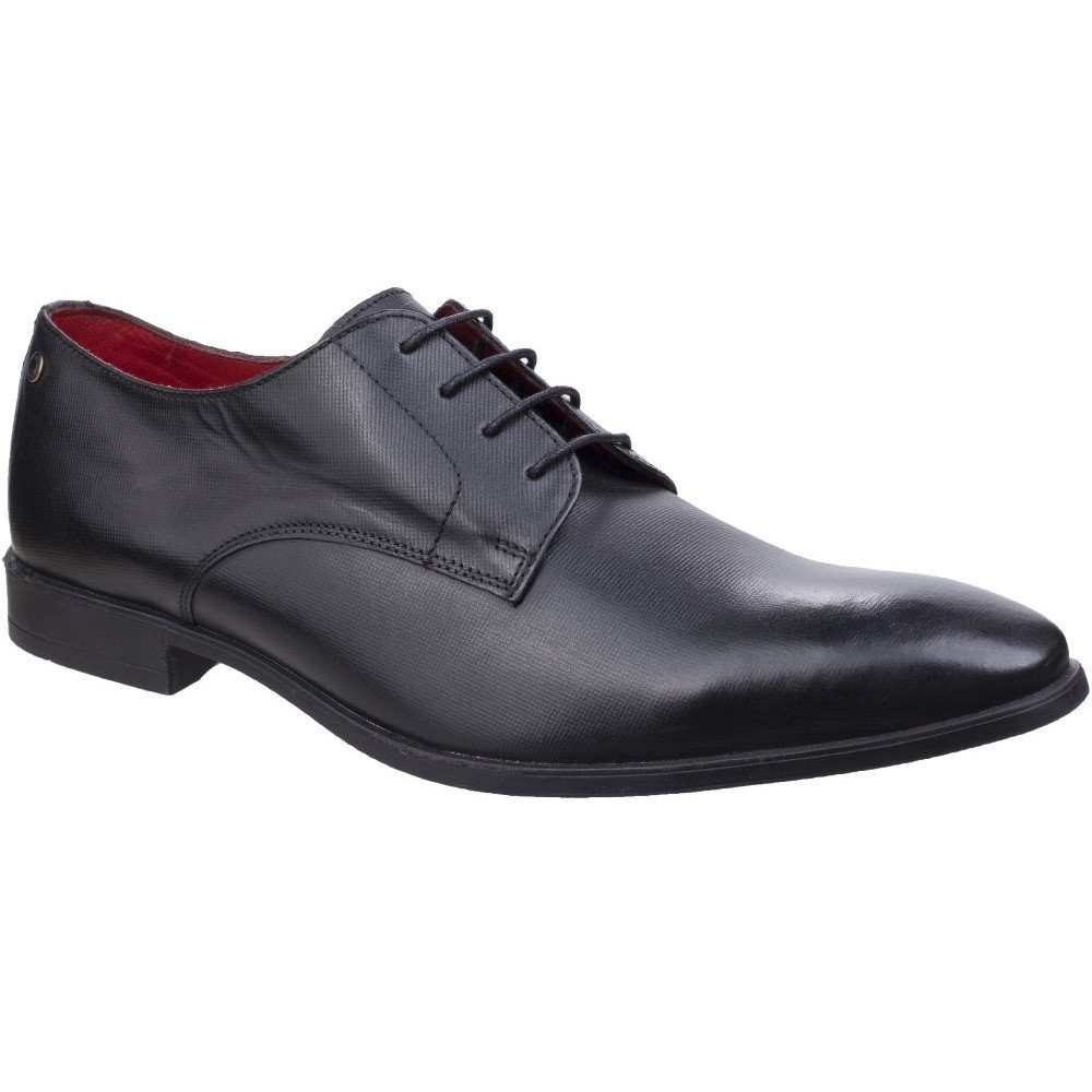 Base London Mens Shilling Waxy Leather Chiselled Tip Derby Style Shoes 8|Black