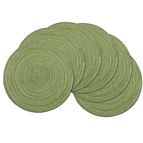 (SHACOS Round Placemats Set of 6 for Dining Tables 15 inch Cotton Braided Placemats Washable Reversible for Kitchen Holiday Party (Pea Green, 6))
