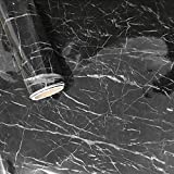 New Black Granite Look Marble Gloss Film Vinyl Self Adhesive Counter Top Peel and Stick Wall Decal 12''x79''