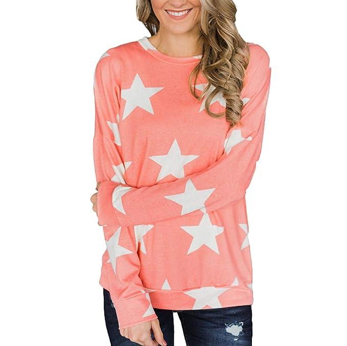 Belasdla Elegante Camisa De Manga Larga Cuello Redondo Estrella Imprimir Escudo BotóN Top: Amazon.es: Ropa y accesorios