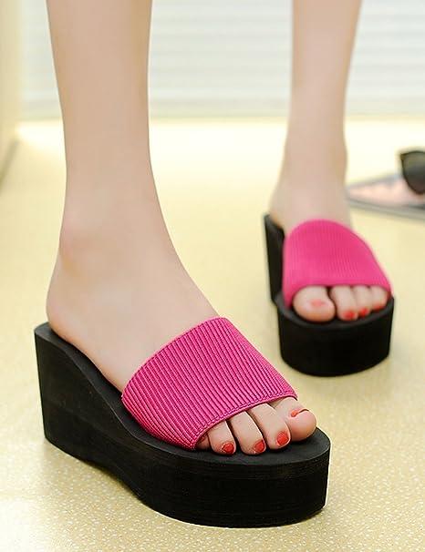 Playa de verano pantuflas de fondo grueso Zapatillas de playa de señoras Zapatillas amortiguadas Sandalias de ...