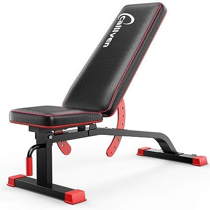 ALUK- Banco multifuncional con mancuernas, sentarse banco de ejercicio de entrenamiento plegable de la