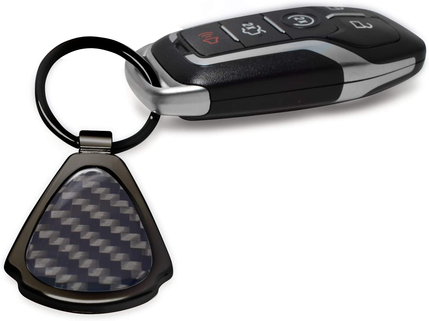 Chrysler Logo Real Black Carbon Fiber Gunmetal Black Metal Teardrop Key Chain