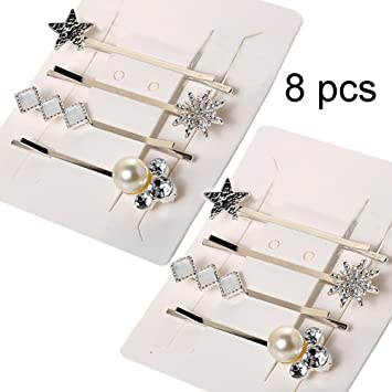 c856dbf8544 Amazon.com : 8 Pack Bobby Pins Silver Metal Crystal Pearl Bobby Grips Pin  Hair Clips for Womens Girls : Beauty