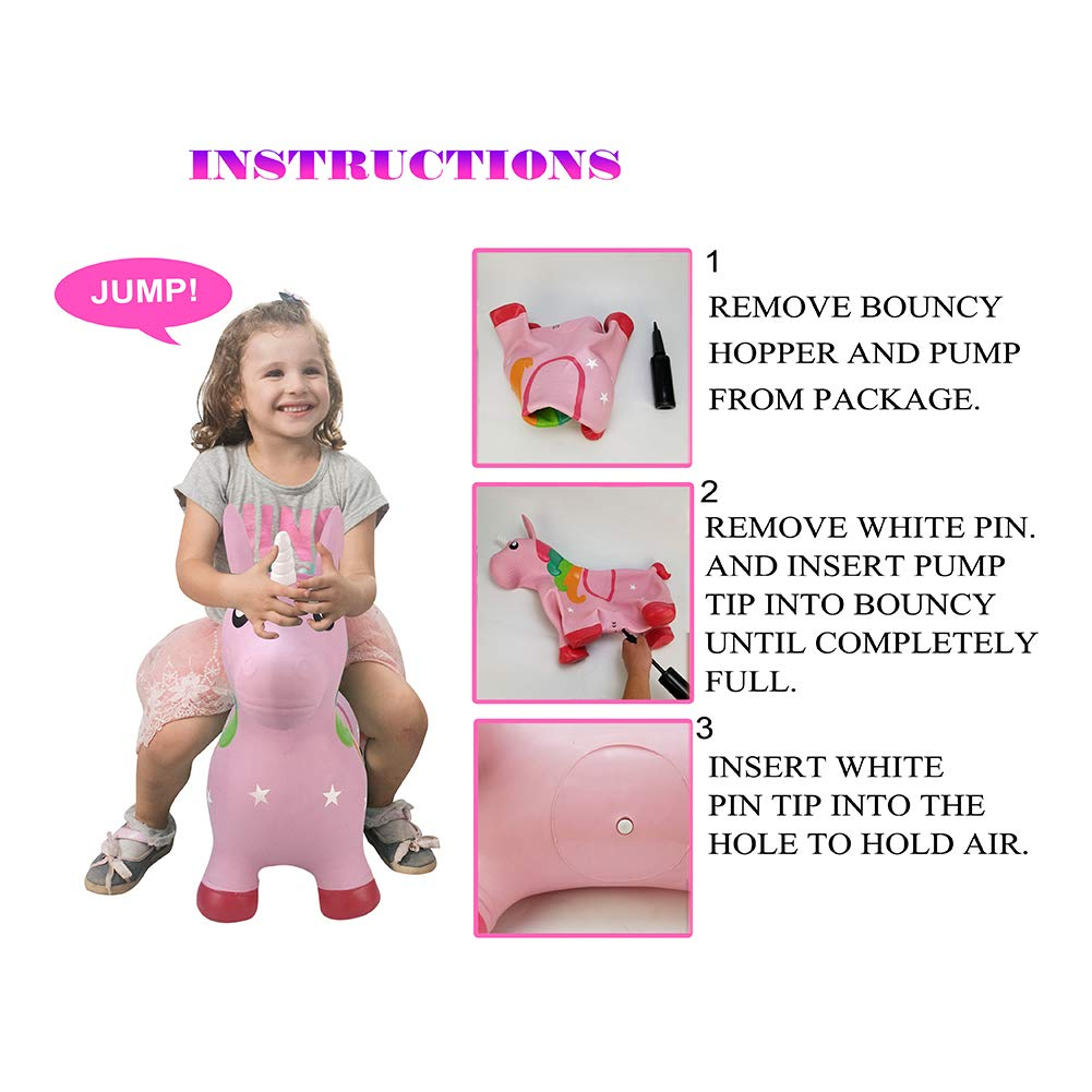 Pink Unicorn Hopper, Horse Hopper, Bouncy Inflatable Animal Ride-on Toy for Children, Boys and Girls, Toddlers (Pump Included) by Inpany (Image #3)