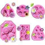 TANOKY - Juego de 6 moldes de silicona para fondant, diseño de margaritas y rosas