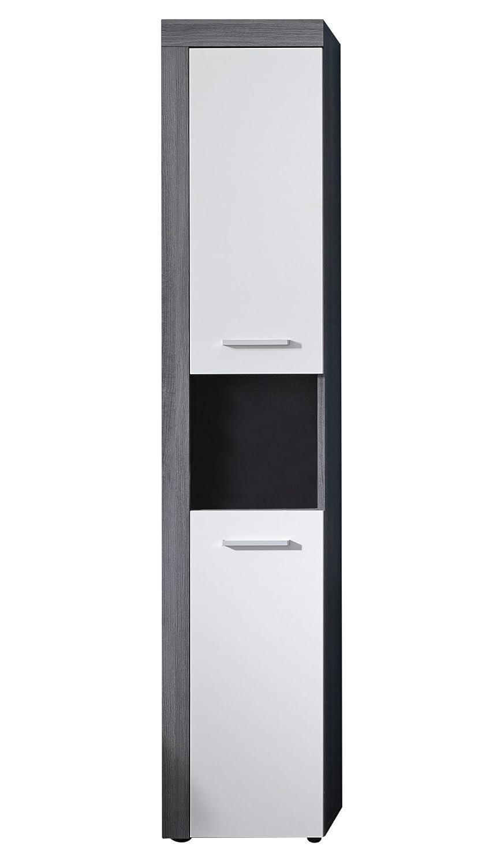 Maisonnerie 1259-101-03 Miami Armoire pour Meuble Salle de Bain Blanc Mélaminé-Argent Cendré 36 -0 x 31 -0 x 184 -0 cm
