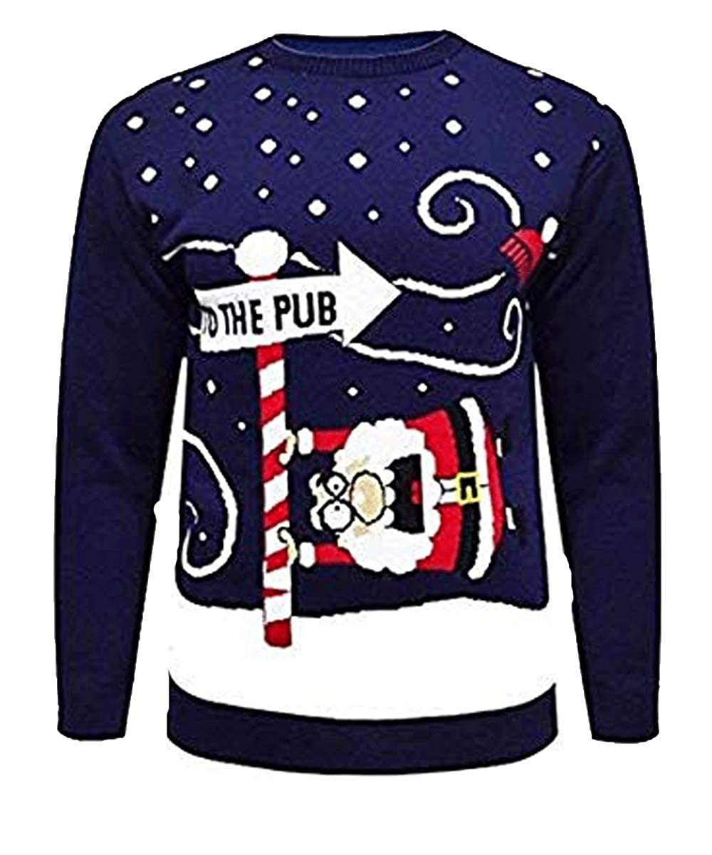 Men Christmas Novelty Knitted Reindeer to The Pub Xmas Jumper Sweater Top S-2XL MMT