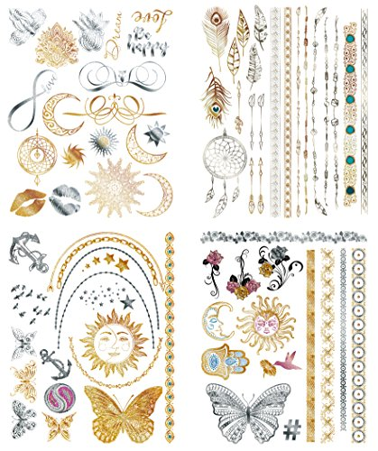 Flash Metallic Temporary Tattoos For Women - 150+ Boho Tattoos & Mandala Tattoos with Gold & Silver Shimmer - 8 Large Sheets of Bachelorette Tattoos Include Waterproof Arm Bands - (Temporary Glow In The Dark Hair Dye)