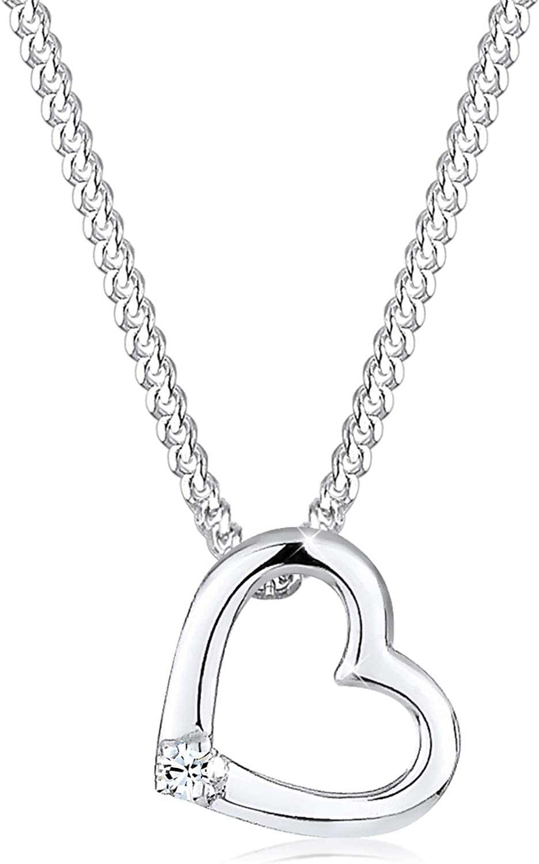 Elli Collares Colgante de corazón para damas con cristales de Swarovski® en plata esterlina 925