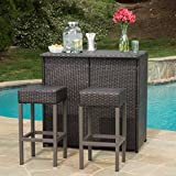 Cheap Oneida Patio Furniture Outdoor Wicker Bar Island Set (Brown)