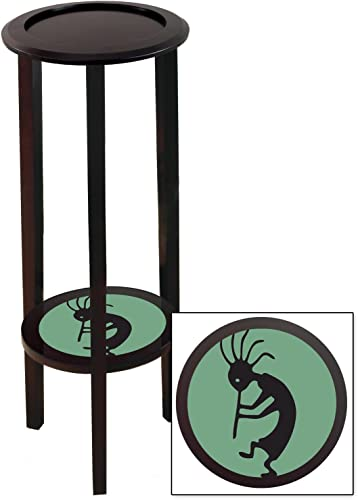 The Furniture Cove New Cappuccino Espresso Finish End Table Featuring Aqua Kokopelli Logo