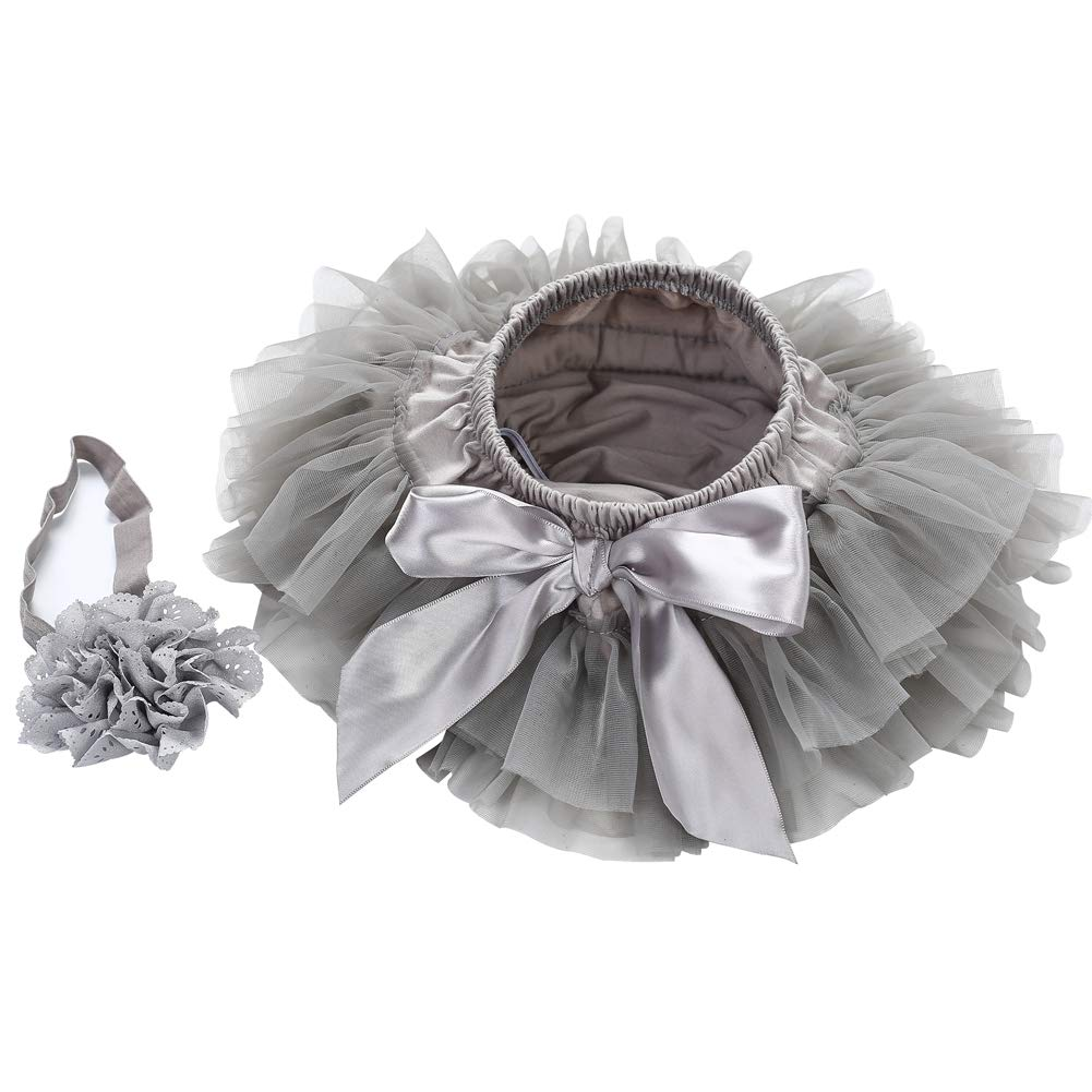 Girls Cotton Tulle Ruffle with Bow Shorts Baby Bloomer Diaper Cover and Headband Set