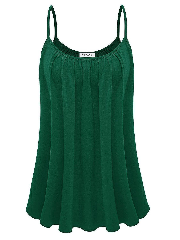 Dark Green KurKuva Women's Basic Camisole Casual Strap Flowy Shirt Cami Tank Top