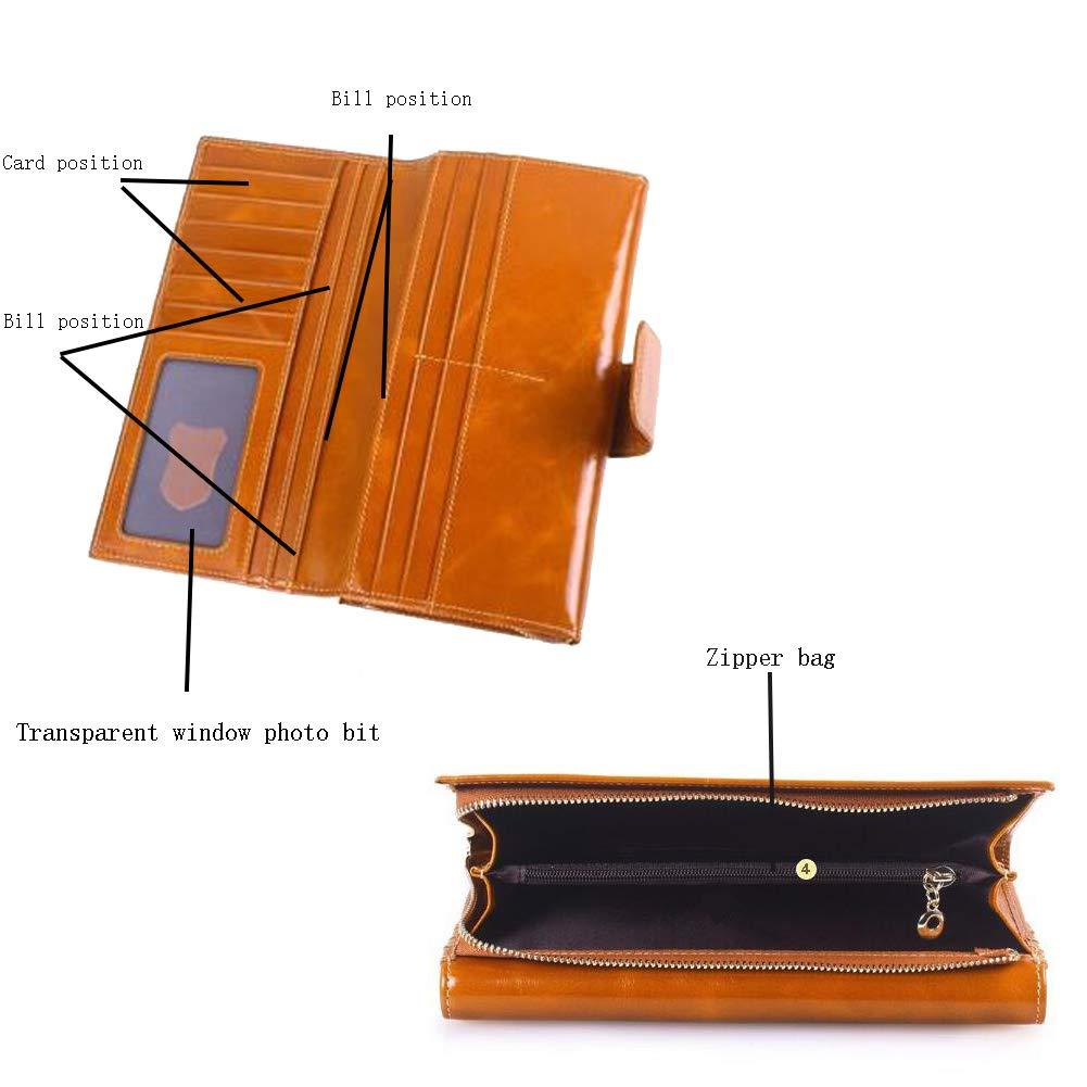 FZXHJR Leder Wallet Long Head Layer Cowhide Öl Wax Leder Leder Leder Damen Zipper Kupplung Bag Multi-Card Business Wallet B07PY7VK5V Geldbrsen 031393