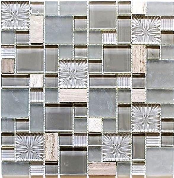 Transluzent Glasmosaik Verbund Stein Muschel grau Wand K/üche Dusche Bad Fliesenspiegel|WB86-0002|1Matte