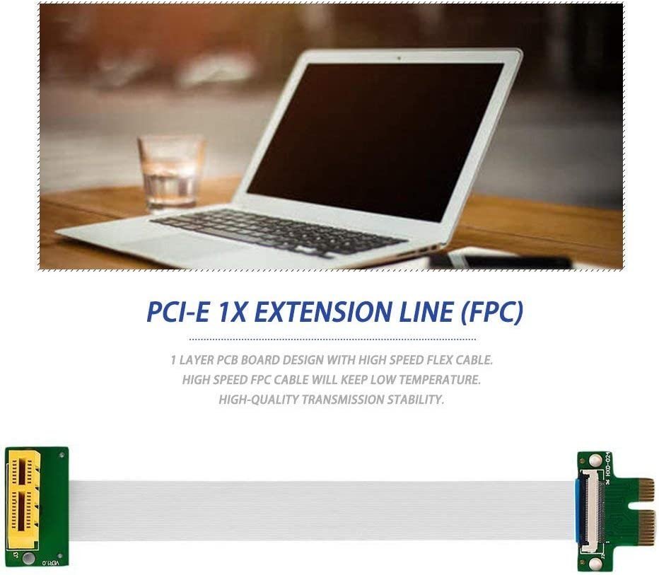Mandalaa Professional Pci-E Express 1X Riser Extension Single Slot Compact High Speed Cable Durable Electronics Accessories