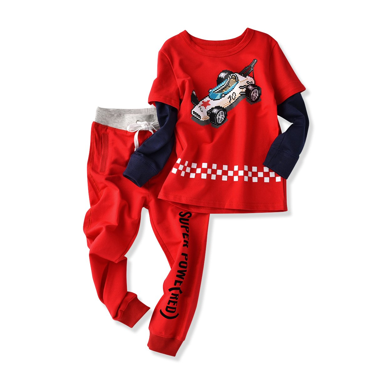 Little Boys Outfits, 2pcs Clothing Sets Casual Racing T-shirt and Pants (2T)