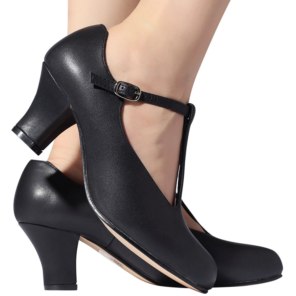 STELLE Women's Character Footlight T Strap 2.5'' Dance Shoes(Women/Big Kid) (10M, Black) by STELLE (Image #3)