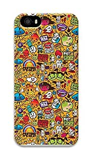 iPhone 5 5S Case Colorful Sticker Illustrations 3D Custom iPhone 5 5S Case Cover