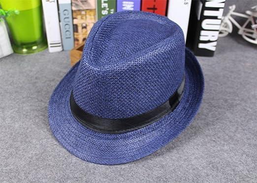 JUNGEN Sombrero de los Hombres Mujeres de Paja de Lino Cap Beach Sun Hat  Verano Anti-Sun Jazz Cap (Azul)  Amazon.es  Ropa y accesorios 383242bf5ab