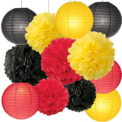 HappyField Mickey Mouse Colors Party Decorations Party Supplies Tissue Paper Pom Pom Paper Flower Ball Paper Lanterns for Birthday Decoration Baby Shower Decor]()