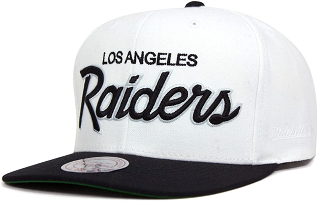 2eb5f82da1a Mitchell   Ness Los Angeles Raiders White   Black Script Adjustable Snapback  ...