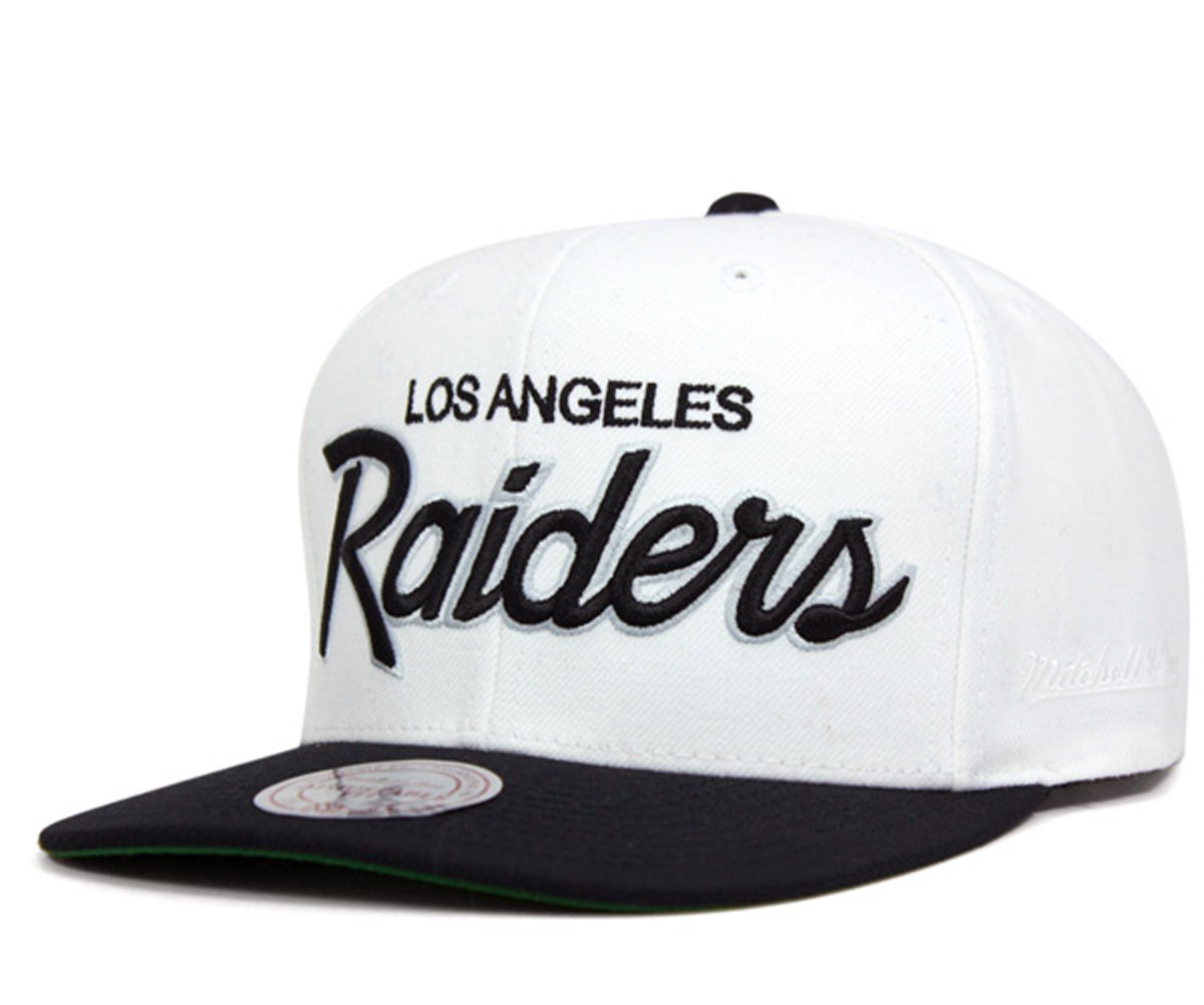 5853aa884be Galleon - Mitchell   Ness Los Angeles Raiders White   Black Script  Adjustable Snapback Hat NFL