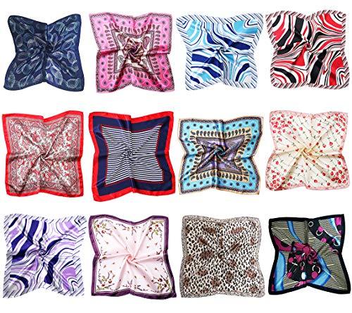 JIUMAN 12pc Womens Small Square Scarf Set Silk Feeling Satin Hair -