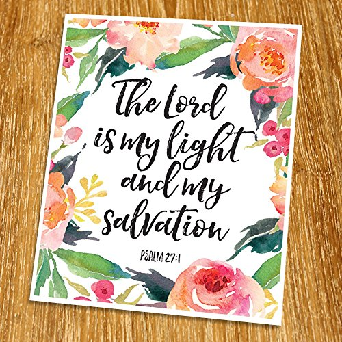 Psalm 27:1 The Lord is my light Print (Unframed), Watercolor Flower, Scripture Art, Bible Verse Print, Christian Wall Art, Word of Wisdom, Inspiration Quote, 8x10