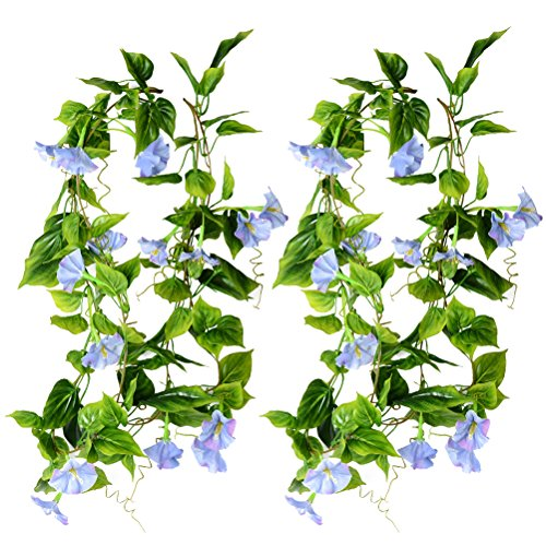 - WINOMO 2pcs Artificial Vines Morning Glory Hanging Green Plants Silk Garland Home Garden Wall Fence Stairway Outdoor Wedding Hanging Baskets Decor (Blue)