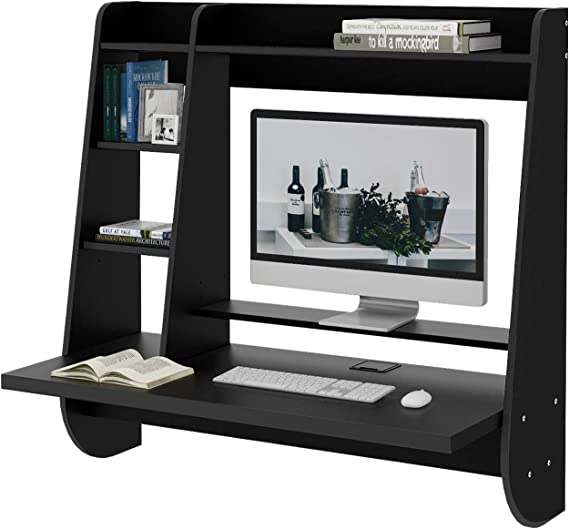 WLIVE Wall Mounted Desk with Storage Shelves