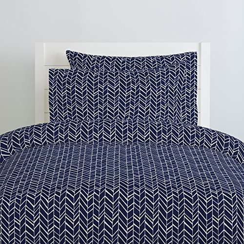 (Carousel Designs Windsor Navy Herringbone Duvet Cover Twin Size - Organic 100% Cotton Duvet Cover - Made in The USA)