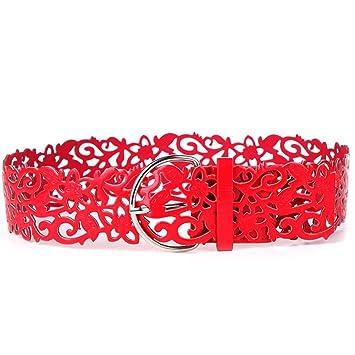 3cfe57cd6e9ae8 Nikgic Damen Breit Hohl Gürtel Ledergürtel Taille Gürtel mit Schnalle  Hueftgurt aus PU Leder Rot