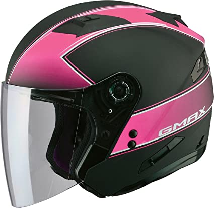 0536b3ce Amazon.com: Gmax OF77 unisex-adult open-face-helmet-style Motorcycle Street  Helmet Classic (Flat Black/Pink,Medium),1 Pack: Automotive