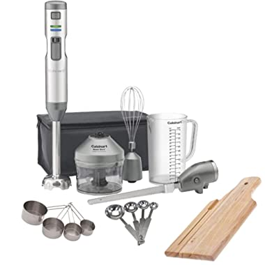 Cuisinart CSB-300 Smart Stick Variable Speed Cordless Rechargeable Hand Blender with Electric Knife, Stainless Steel Measuring Spoons, Measuring Cups and Breadboard Bundle