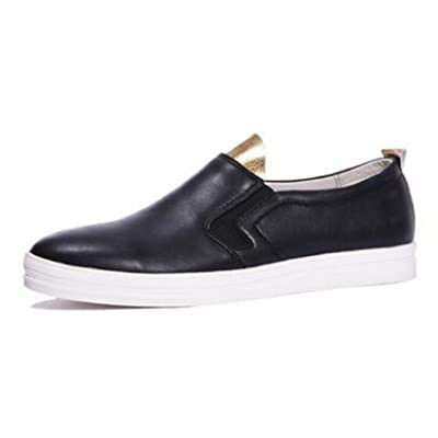 HAPPYSHOP(TM) Men's Genuine Leather Casual Board Shoes Slip-on Loafer Flats Mens Driving Cars Shoes
