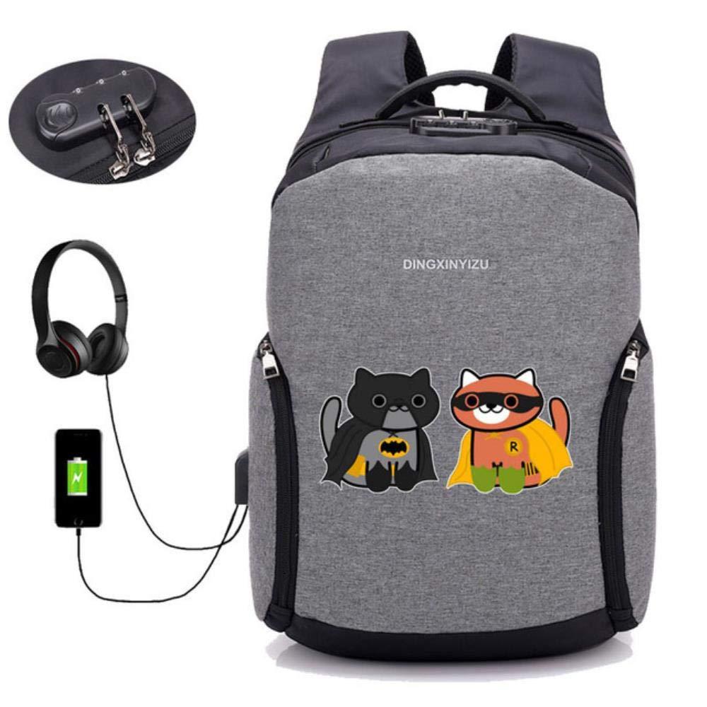 A11 GuiSoHn AntiTheft USB Charging Backpack Anime Neko Atsume Daypack Student School Bag Teenagers Laptop Travel Rucksack