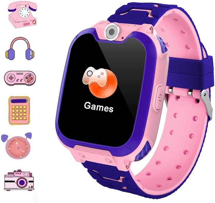 Hangang Reloj Inteligente para Niños Niña La Musica y 7 Juegos Smart Watch Phone 2 Vías Llamada Despertador de Cámara para Reloj Niño y Niña 3-12 años(Rosa)
