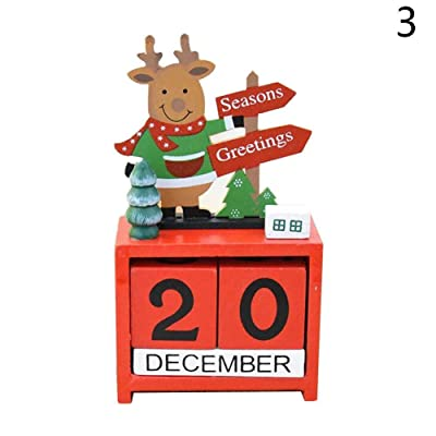 ALINT 1PC Calendrier de Noël Mini Décoration de bureau de Noël Accueil vie Bureau Décorations Calendrier Décoration Bureau Calendrier (wapiti)