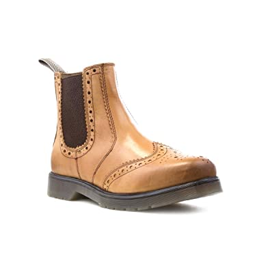 258a1b7b Catesby Mens Tan Leather Brogue Chelsea Boot - Size 12 UK - Brown ...