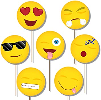 2260531b24 Emoji Photo Booth Props Kit - 20 Pack Party Camera Props  Amazon.in  Toys    Games