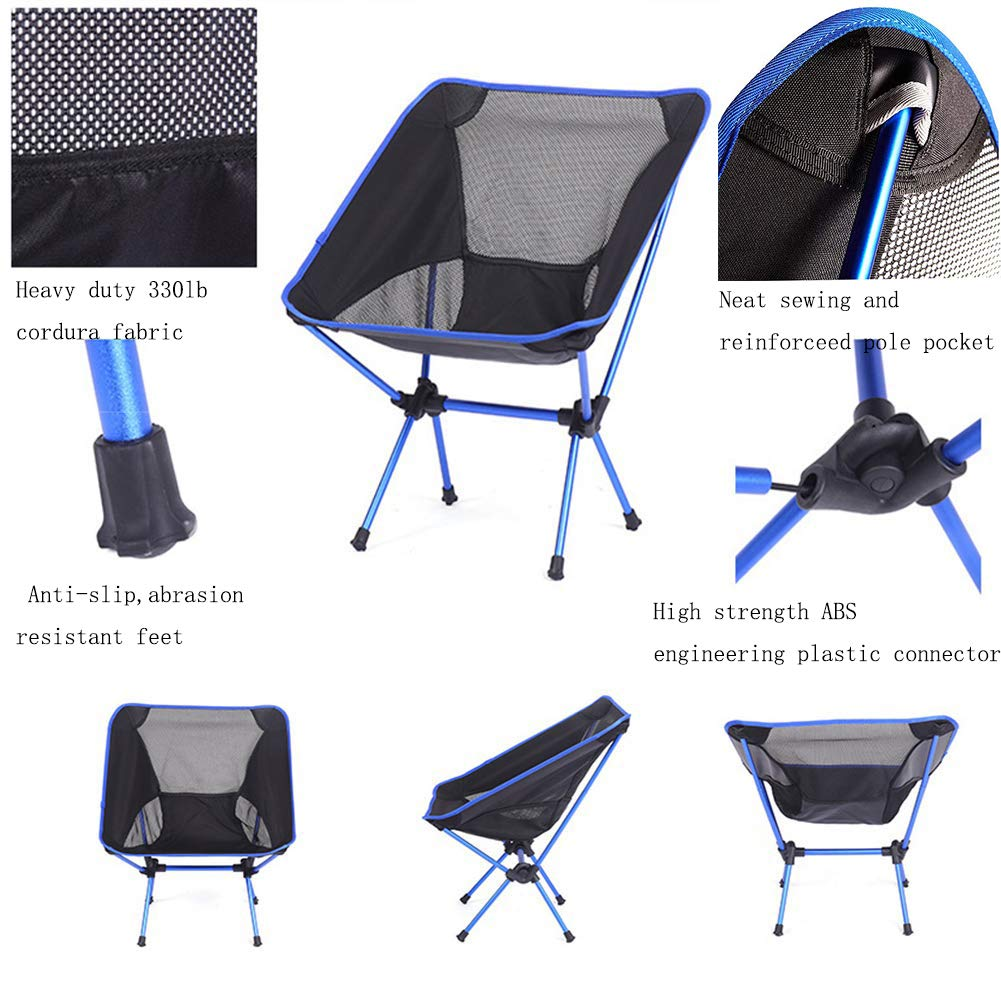 LUOLAN Ultralight Portable Folding Camping Chairs,Backpacking Chairs with Carry Bag,Heavy Duty 330lb Capacity,for Fishing Beach Hiking Outdoor Blue